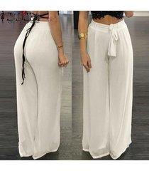 zanzea gasa de las mujeres de cintura alta pantalones anchos palazzo piernas pantalones largos ocasionales flojos -blanco