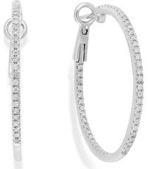 diamond hoop earrings in 14k white gold (1/2 ct. t.w.)