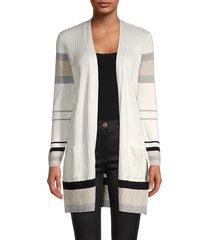 joseph a women's striped long cardigan - ivory combo - size s