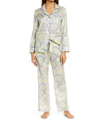 women's the lazy poet emma sleepy monkey linen pajamas, size large - purple