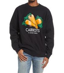 men's carrots by anwar carrots graphic sweatshirt, size medium - black