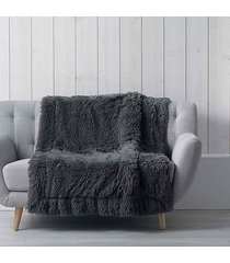 koc pled narzuta fluffy 125x150 cm dark grey