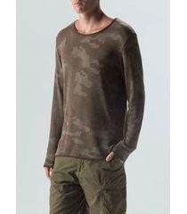 sweater tricot camuflado-preto/militar
