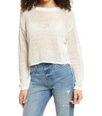 women's bp. open stitch cotton crewneck sweater, size medium - ivory
