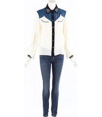 golden goose deluxe brand golden goose madelyn cream blue silk western shirt blue/cream sz: s