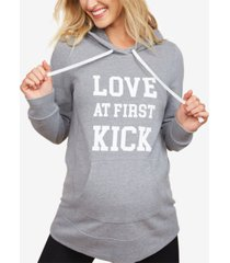 motherhood maternity love at first kick maternity sweatshirt