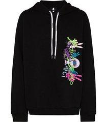 black embroidered hoodie sweatshirt