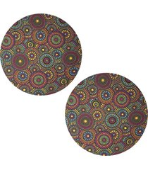kit 2pçs d'rossi sousplat para prato suporte de mesa decorativo mandala colors 30 cm