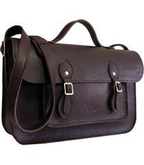bolsa line store leather satchel média couro marrom escuro