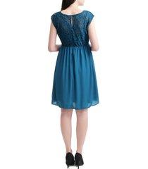women's kimi and kai genevieve lace maternity dress, size x-small - blue/green