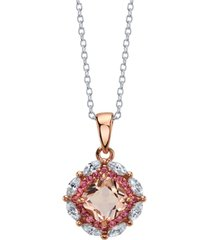 david tutera rose gold flash plated clear and peach pink cubic zirconia pendant necklace by david tutera everyday celebrations