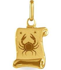 ciondolo in oro giallo pergamena segno zodiacale cancro per unisex