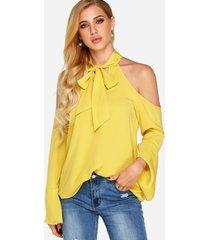 blusas de manga larga con cuello halter liso con corte bowknot amarillo