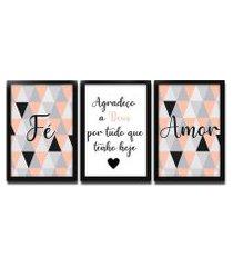 kit 3 quadros decorativos com moldura para sala quarto casal rosê
