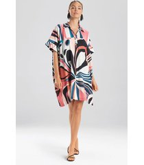 natori papillon caftan dress, women's, pink, size m natori
