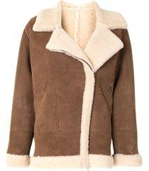 blancha oversized aviator-style jacket - brown