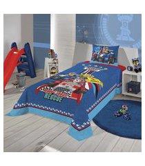 jogo de cama solteiro lepper patrulha canina 2 peças azul