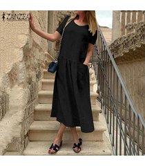 zanzea vestido a media pierna de lino caftán de lino casual de verano para mujer -negro