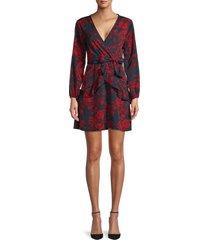 70/21 women's floral-print wrap mini dress - black red - size xs