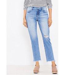 loft curvy frayed mid rise straight crop jeans in staple dark indigo wash