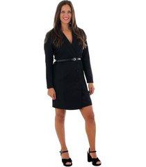 korte jurk vero moda 10220439 vmalicia l/s short dress black solid