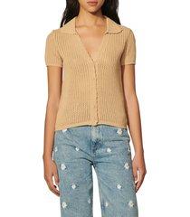 women's sandro yvan short sleeve cardigan sweater, size 1 - beige