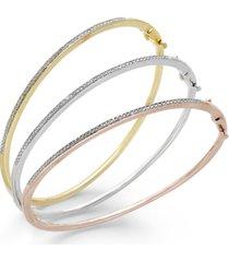 diamond bangle bracelet trio in 14k gold and 14k rose gold over sterling silver and sterling silver (1/4 ct. t.w.)