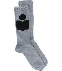 isabel marant intarsia logo socks - blue