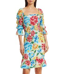 all things mochi women's mariana shirred silk dress - floral multicolor - size m