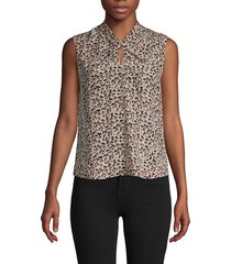 rebecca taylor women's leopard-print silk sleeveless top - caramel - size 0
