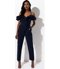 akira be real ruffle off the shoulder jumpsuit