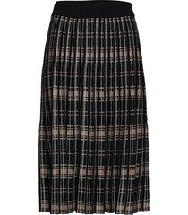 fqcloe-l-sk-check knälång kjol svart free/quent