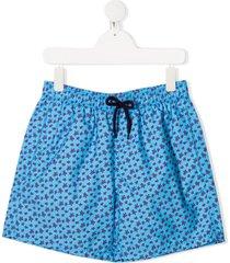 vilebrequin teen micro ronde des tortues swim shorts - blue