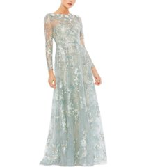 mac duggal embellished embroidered gown