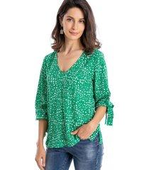 blusa mini flores lazo verde nicopoly