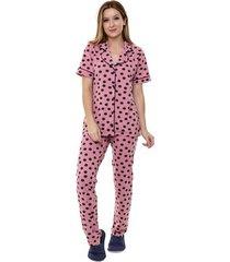 pijama feminino calça longa blusa manga curta poá luna cuore