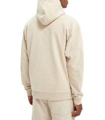women's scotch & soda unisex felpa organic cotton hoodie, size large - beige