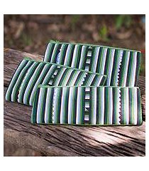 cotton blend cosmetic bags, 'green lisu chic' (set of 3) (thailand)