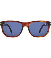 david beckham eyewear david beckham 54mm rectangular sunglasses in brown havana/blue at nordstrom