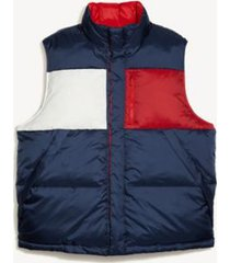 tommy hilfiger men's adaptive icon reversible down vest navy/racing red/ white - s