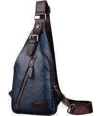 mochila bolso maleta hombre cruzada pequeño cuero pu 4484 azul
