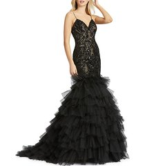 tiered ruffled tulle mermaid gown