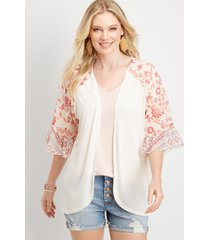 maurices womens woven ruffle short sleeve cardigan pink