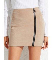 yoins khaki zip diseño minifalda de ante de talle alto