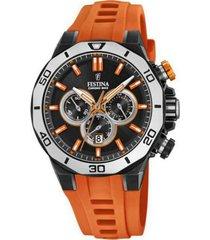 reloj festina modelo f20450/2 naranja hombre