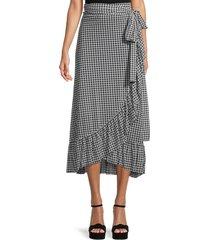 ganni women's gingham wrap skirt - black - size 40 (8)