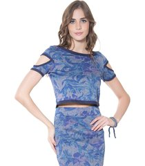 top lucy in the sky cropped azul