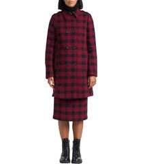 red valentino check double-breasted coat