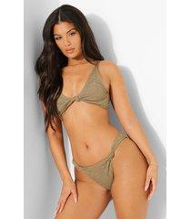 mix & match gekreukeld bikini broekje met knoop, light khaki