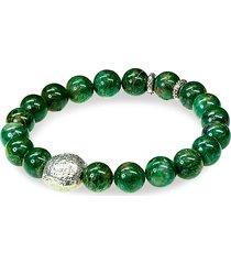 jean claude men's sterling silver & african jade beaded bracelet
